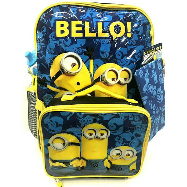 'Bello' Minion Backpack with Detachable lunch box 5-piece set