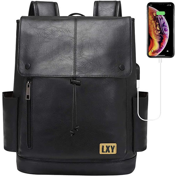 Faux Leather Flip-Flap Drawstring USB Backpack