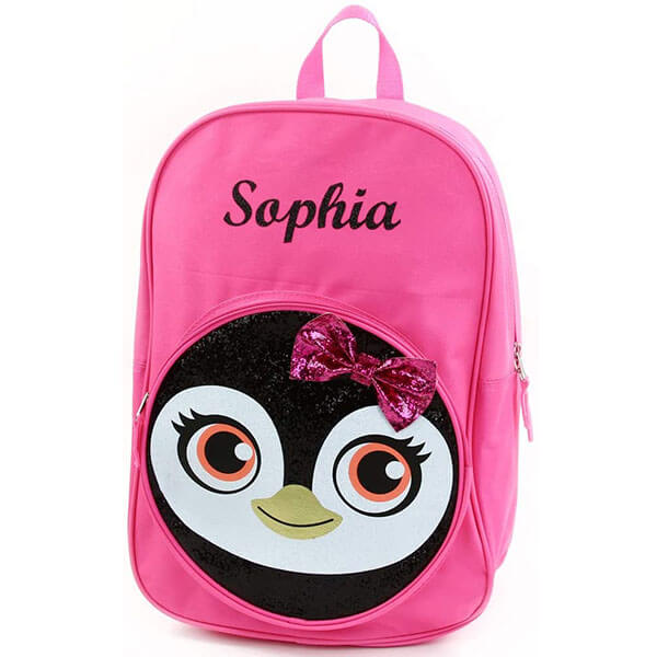 Personalized Strawberry Pink Girls' Penguin Backpack