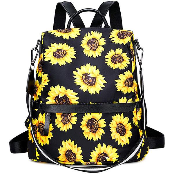 Women Canvas Sunflower Backpack Purse