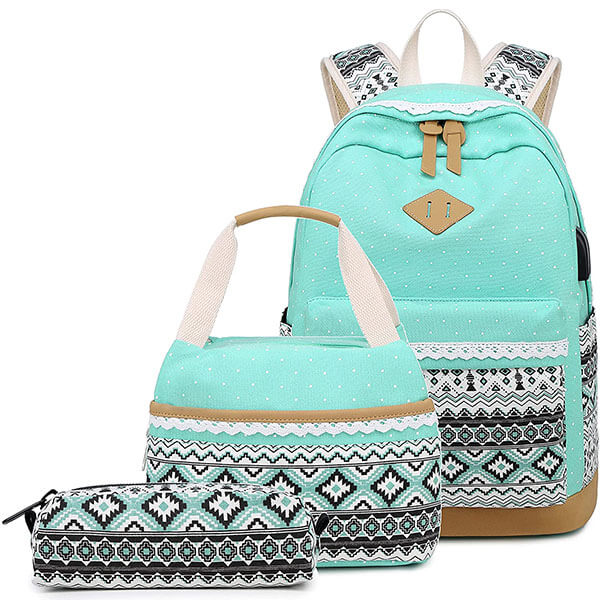 Abshoo Turquoise Canvas 3pcs School Backpack Set