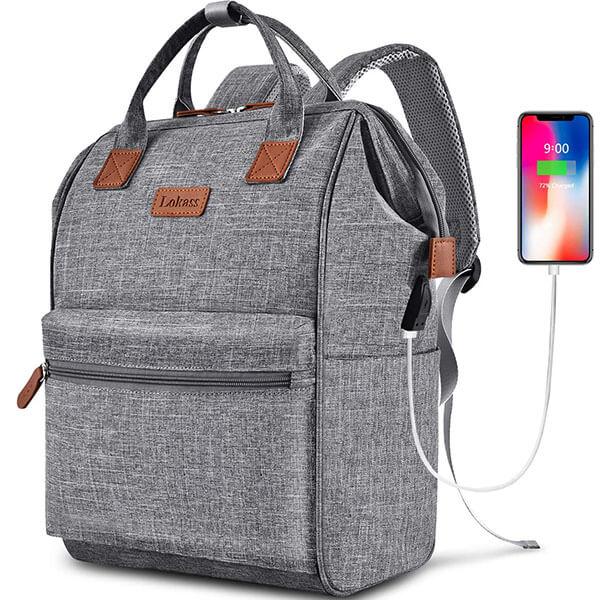 Classy Rectangular USB Handbag Backpack for School