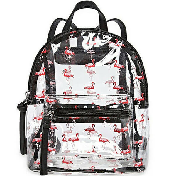 Clear Synthetic Flamingo Mini Backpack