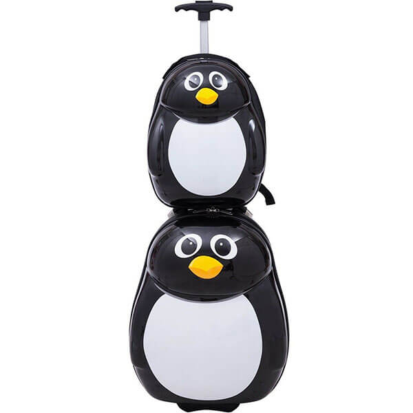 Rolling Penguin Shaped Backpack Set