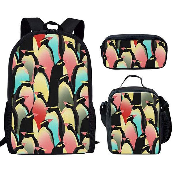 3 in 1 Vivid multi-color Penguin Backpack Set