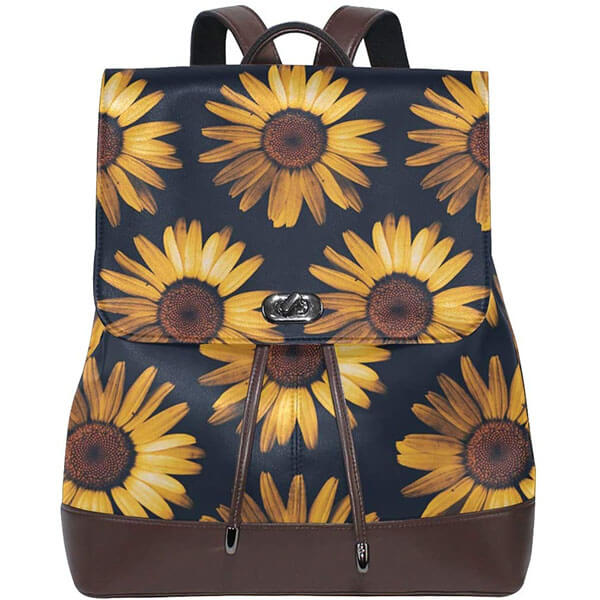 Genuine Leather Sunflower Backpack Purse