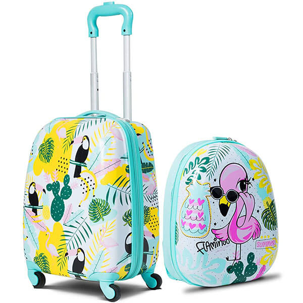 Polycarbonate Flamingo Rolling Backpack with Suitcase