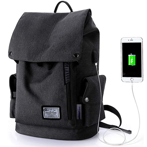 College Laptop Backpack with USB Charging Connection