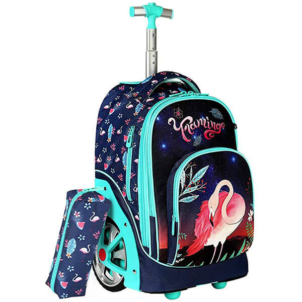 Rolling Flamingo Backpack with Pencil Case