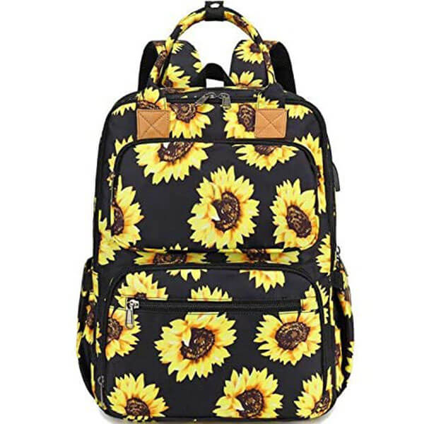 Sunflower Laptop Backpacks with USB Charging Port