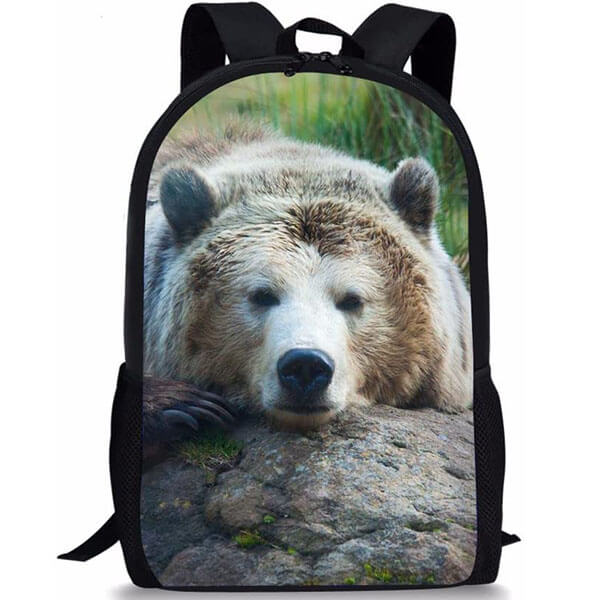 Teens Durable Bear Printed Backpack