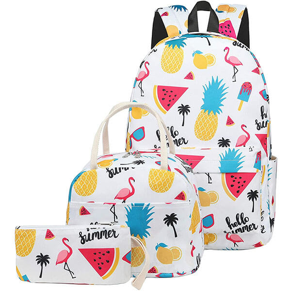 Combo Flamingo Backpack with Water Melon Ice Cream Print