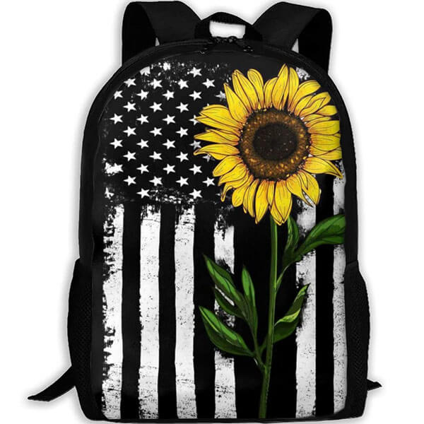 Distressed American Flag Sunflower Backpack