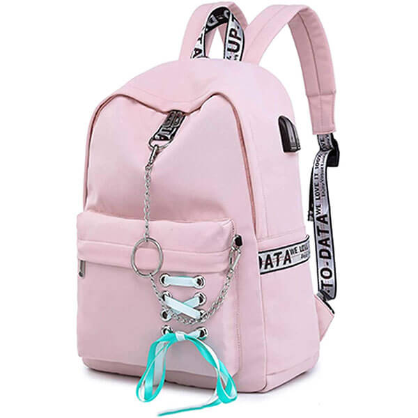 Teen Girl's Bow-knot Chain Backpack with USB Port