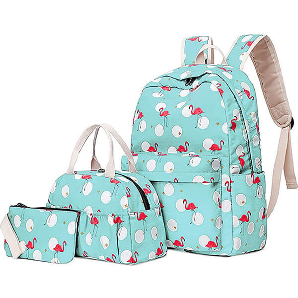 White Round Ball Flamingo Three in One Backpack