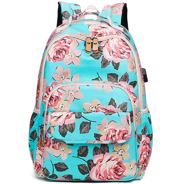 Floral Teen Girls Canvas USB Charging Backpack