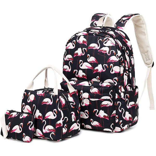 Flamingo Backpack with Lunch Bag and Pencil Case
