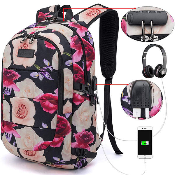 Anti-Theft Flower Backpack with USB and Headset Port