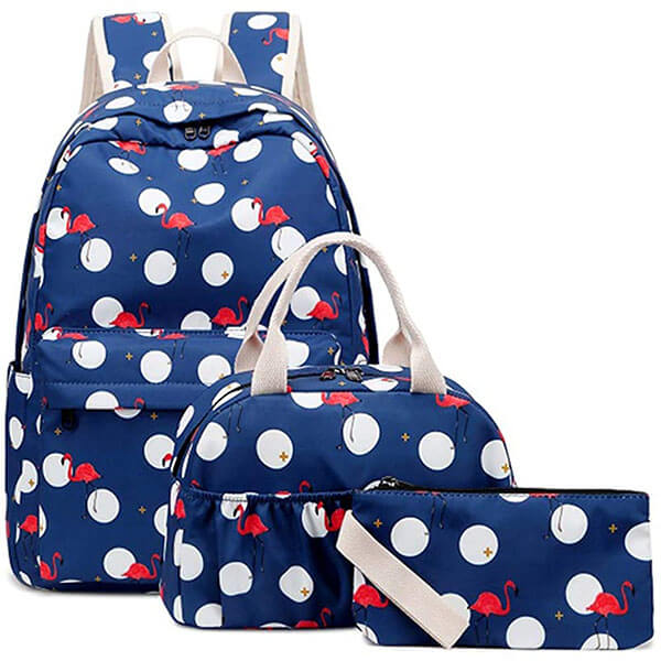 Deep Blue Round Circle Flamingo Backpack Set