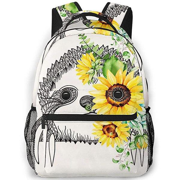 Eye-catching Sloth Sunflower School Backpack