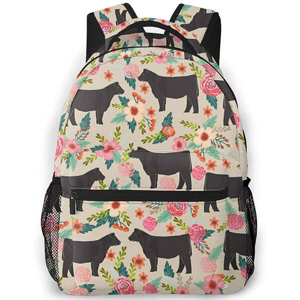 Steer Flower Cow All Over Print Backpack