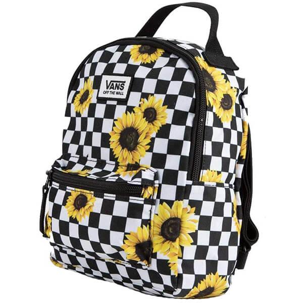 Mini Black n White Sunflower Checkered Backpack