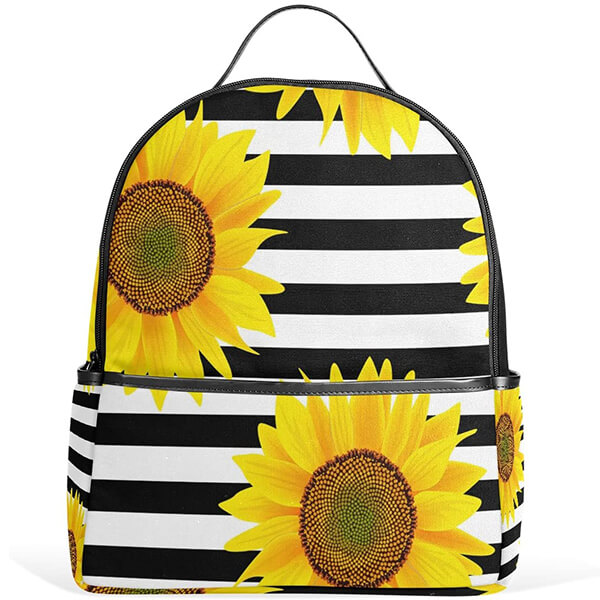 Blooming Sunflower Checkered Backpack