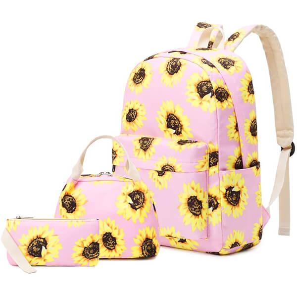 Rose Pink Sunflower Backpack Essentials Set