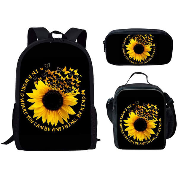 Butterfly Sunflowers Canvas Full Set Backpack