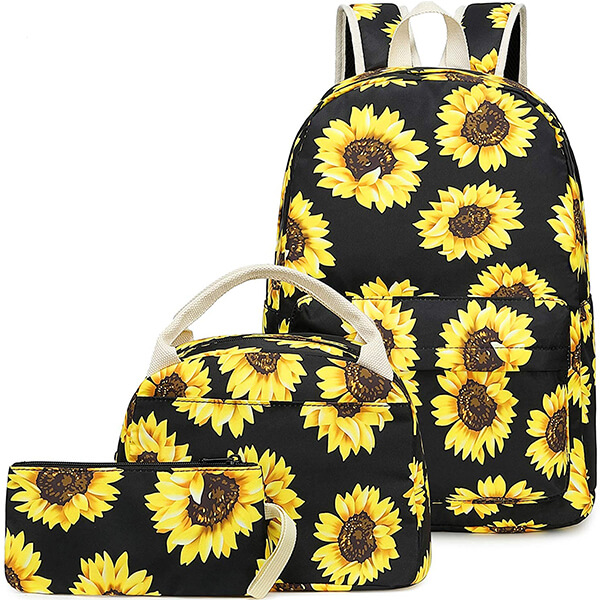 3 in 1 School Canvas Floral Backpack Set