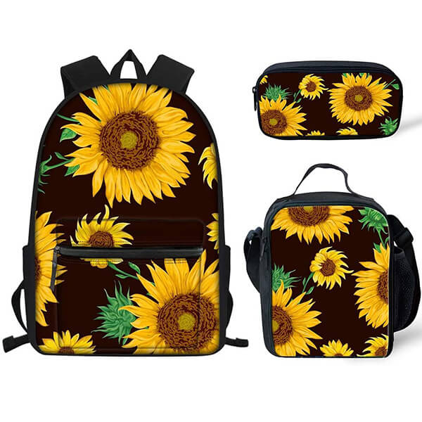 Flower Print Insulated Lunch Bag and Backpack Set