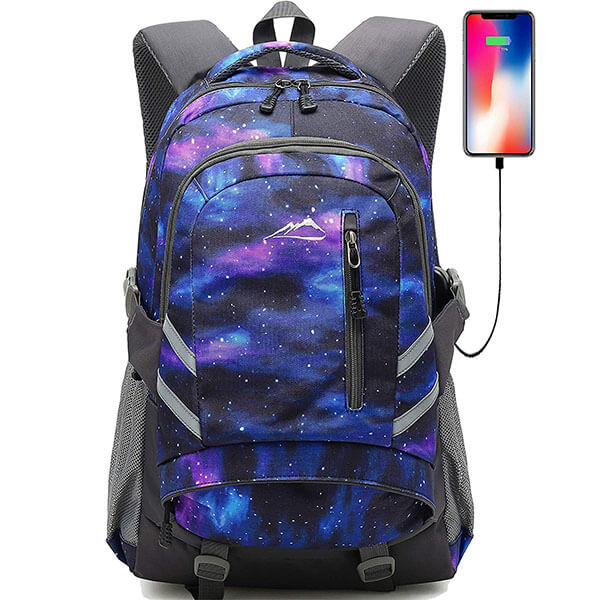 Galaxy Reflective College Backpack with USB Port
