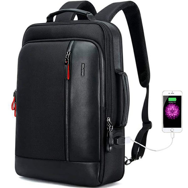 Anti-Theft Water-Resistant Leather Backpack with USB Port