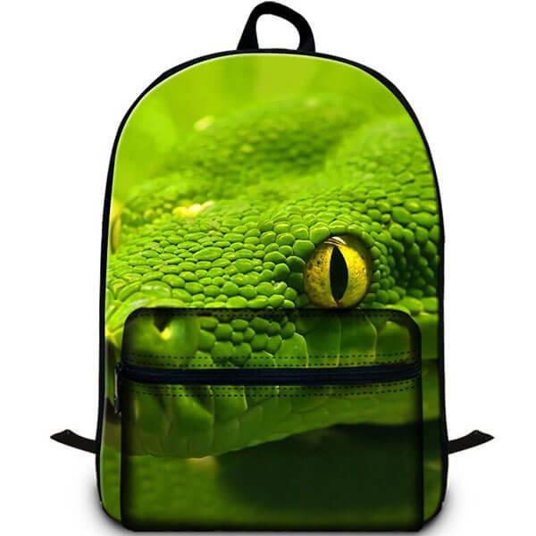 Lime Green 3D Snake Eyed Laptop Backpack