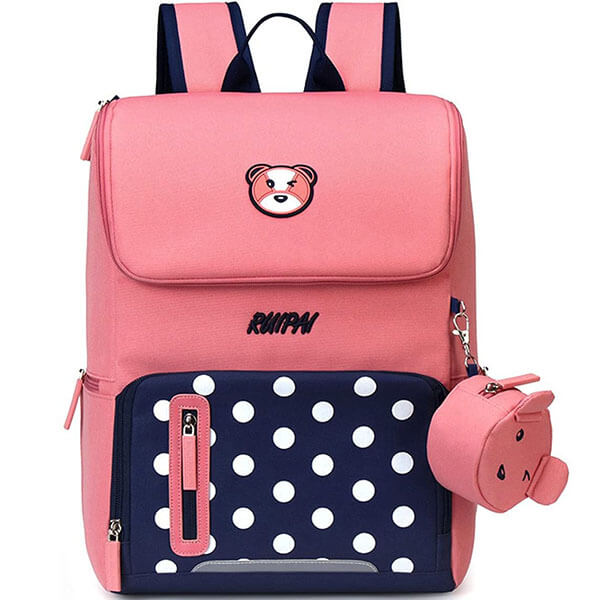 Pink Bear Nylon Backpack