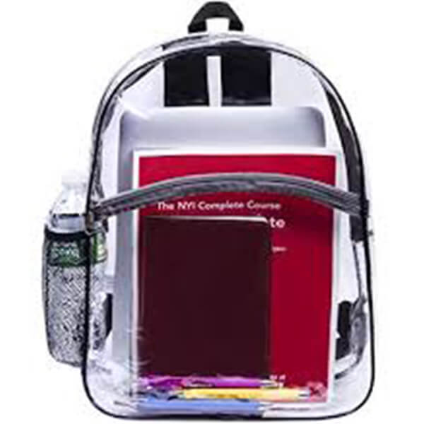 Water-Resistant Clear Vinyl Bookbag