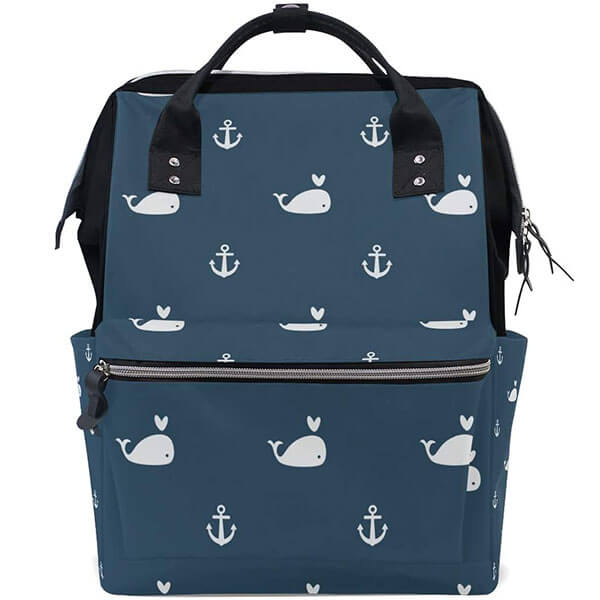 White Whales & Ship Anchor Canvas Backpack