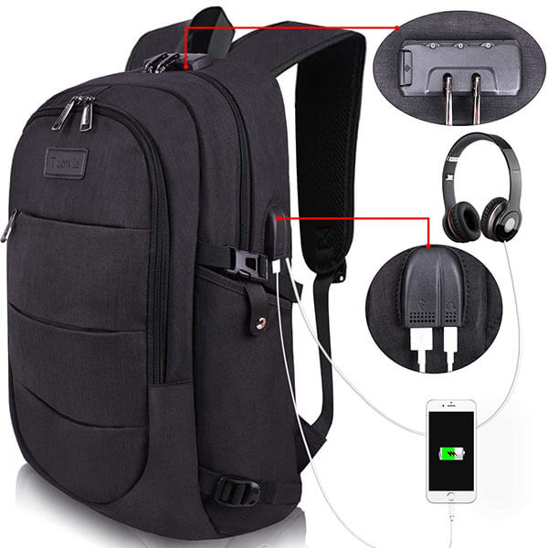 Adults Casual Hiking Daypack with USB Port and Lock
