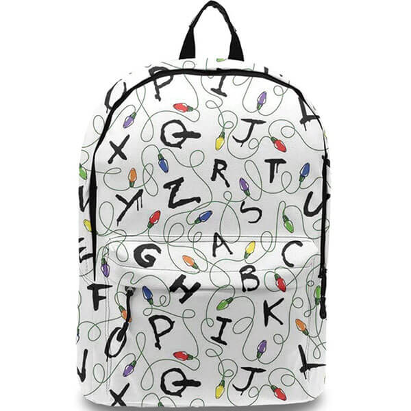 Anti-Theft White Stranger Things School Backpack