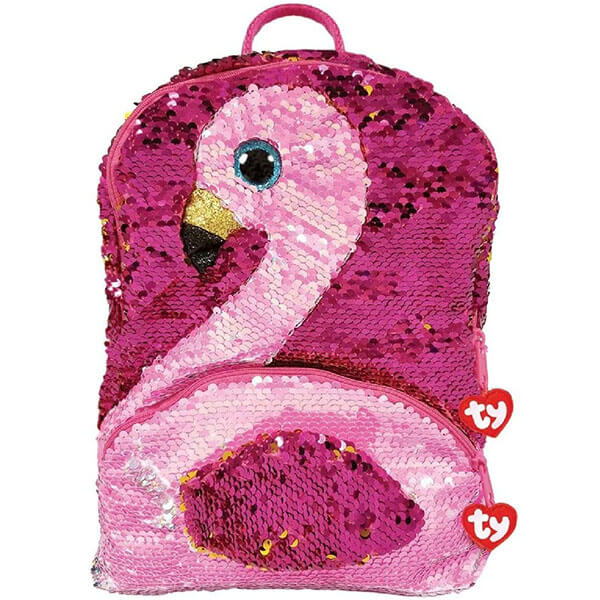Flamingo Reversible Sequins Backpack with Shiny Eyes