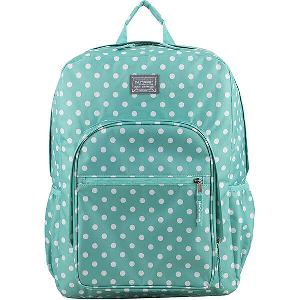 Turquoise Roomy Backpack with Polka Dot Prints