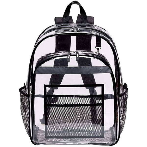 Clear Vinyl Backpack with Reflective Tape