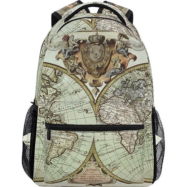 Fashionable Map Painting School Backpack