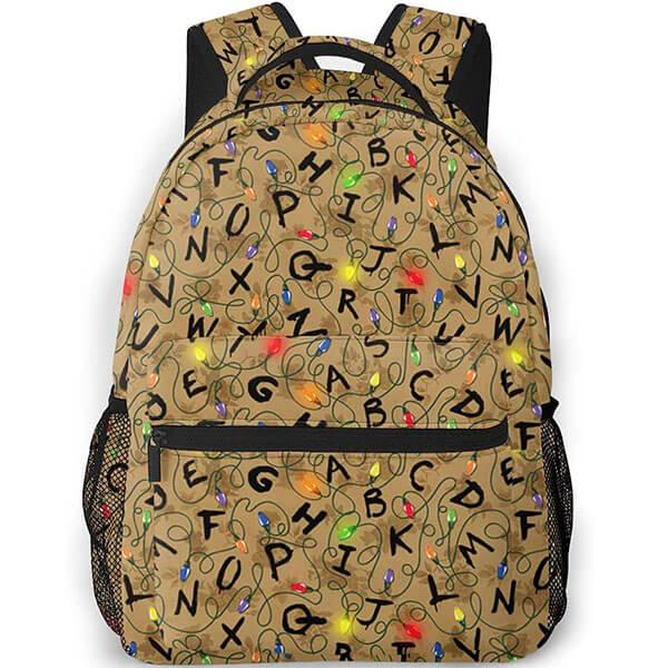 Pale Brown Alphabet Stranger Things Backpacks