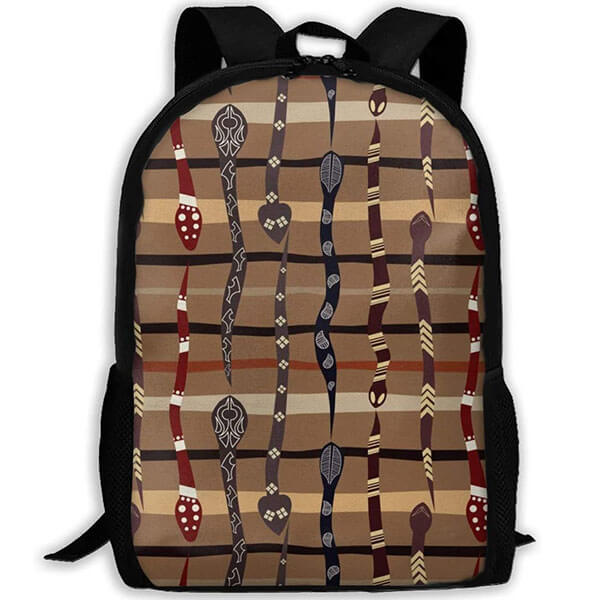 Bohemian Style Backpack with Snake Texture