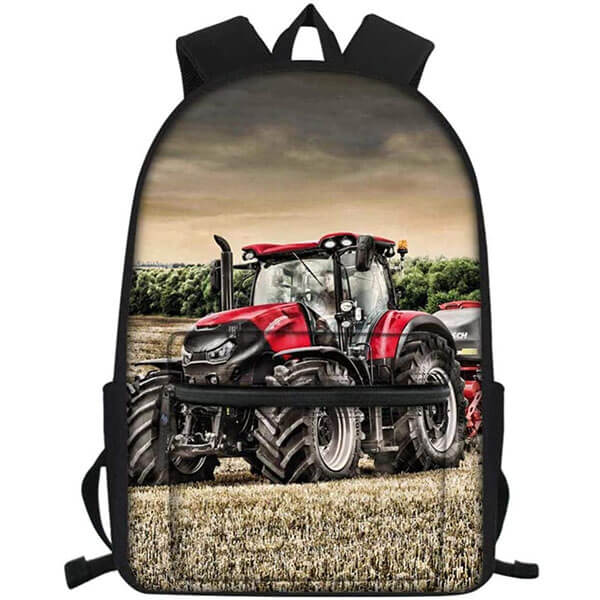 Cloudy Field Printing Tractor Backpack