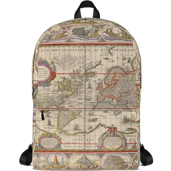 Ergonomic Map Backpack with Plastic Strap Regulators
