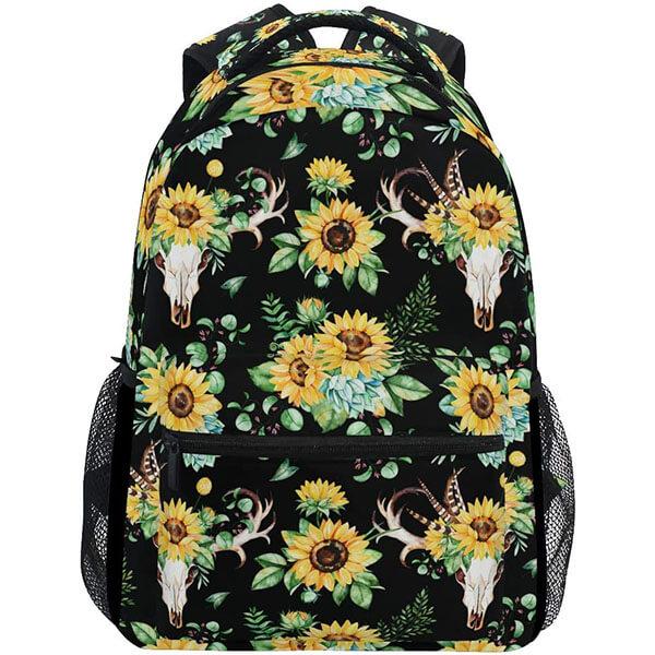 Skull Feather Leaves Horn Print Sunflower Backpack