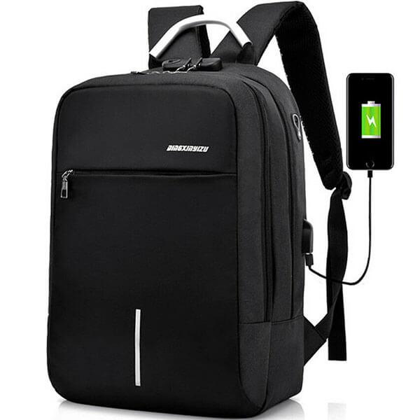 Anti-theft Password Lock Teens USB Charging Backpack