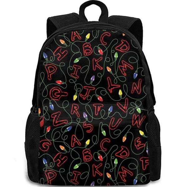 Black Alphabet Laptop Stranger Things Backpacks